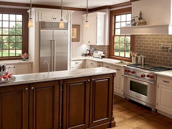 Nice looking kitchen with Sub-Zero Pro46 Refrigerator and gas stove